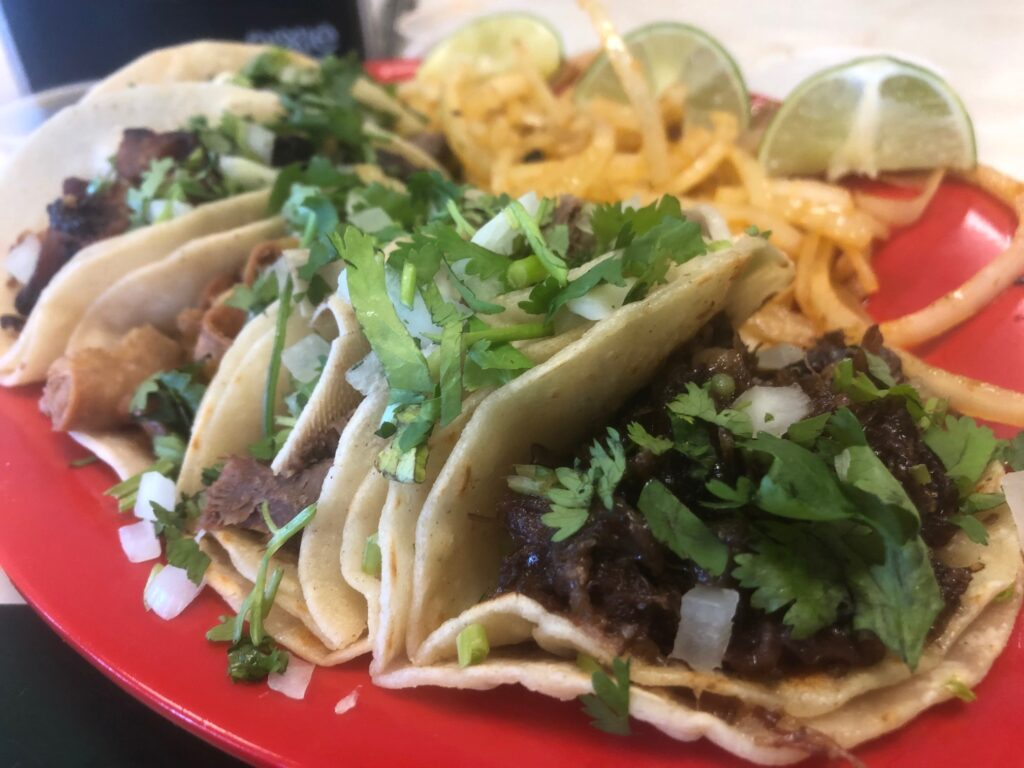 The restaurant has a bevy of tacos including: Cabeza, Carne Asada, Lengua, Tripa, Tacos Al Pastor and Poll