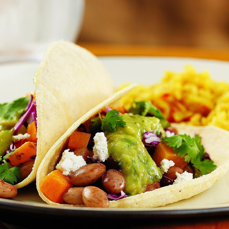 Bean & Butternut Tacos with Green Salsa