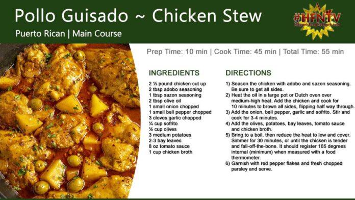 Pollo Guisado Recipe Card