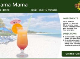 Bahama Mama Recipe Card