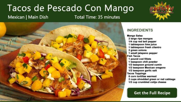 Tacos de Pescado Con Mango ~ Fish and Mango Tacos Recipe Card