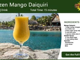 Frozen Mango Daiquiri Cocktail Recipe Card