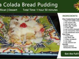 Pina Colada Bread Pudding Recipe Card
