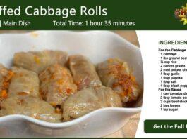Rice Beef Stuffed Cabbage Rolls Recipe Card