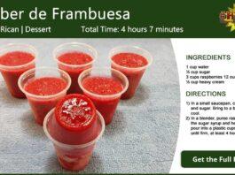 Limber de Frambuesa ~ Raspberry Ice Recipe Card